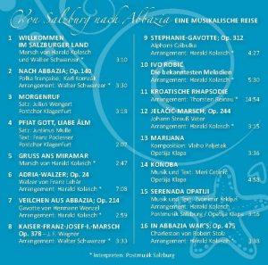 CD Rückseite Von Salzburg nach Abbazia